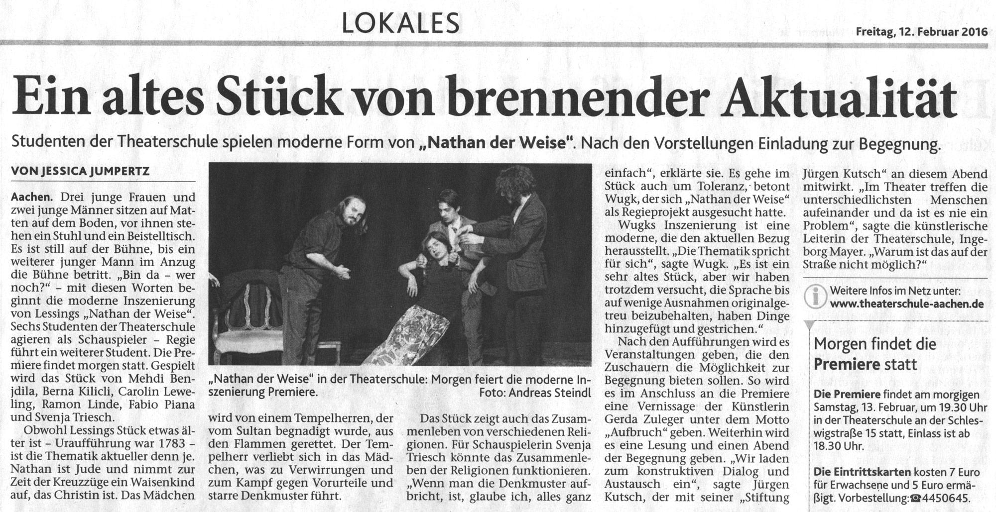 Theaterschule aachen f r schauspiel regie musical for Raumgestaltung nathan der weise